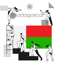 Group Of Office Workers Climbing The Stairs Of Success With National Flag And Geometrical Elements Isolated On White Background  : Vector Illustration