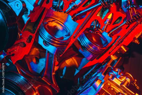 Photo Fragment of a modern car engine. Motor piston closeup