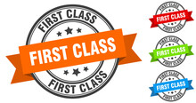 First Class Stamp. Round Band Sign Set. Label
