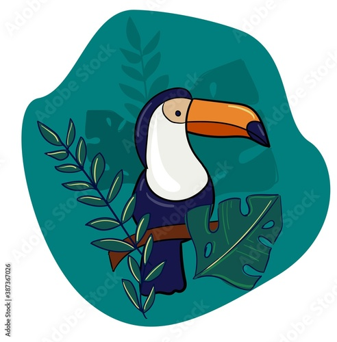 Naklejka premium Hand drawn toucan print and leaves exotic tropical bird vector illustration