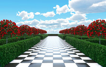 Maze Garden 3d Render Illustration. Chess, Golden Flamingo, Trees With Red Flowers And Clouds In The Sky.