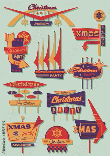 Fototapeta Christmas Party Signboards Mid Century Modern Shapes Style  obraz