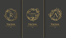 Vector Set Of Linear Frames With Leaves In A Circle Shape. Can Be Used For Jewelry, Beauty And Fashion Industry. Great For Logo, Monogram, Invitation, Flyer, Menu, Background, Or Any Desired Idea.