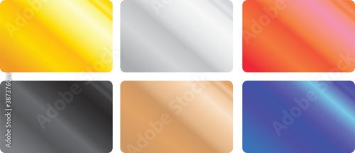 Obraz A vector set of credit card sized clean templates with shiny metal chrome gradient of different colors: silver, gold, bronze, black, red and blue. Can be used as a retail bonus or gift card template. - fototapety do salonu