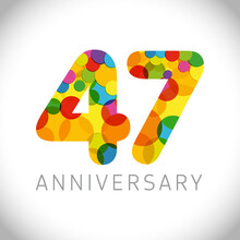 47 Th Anniversary Numbers. 47 Years Old Multicolored Congrats. Cute Congratulation Concept. Isolated Abstract Graphic Design Template. Age Digits. Up To 47%, -47% Percent Off Discount. Decorative Sign