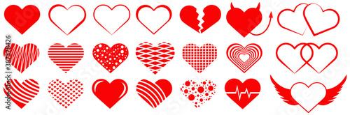 Papel de parede Heart and love, big vector set of hearts