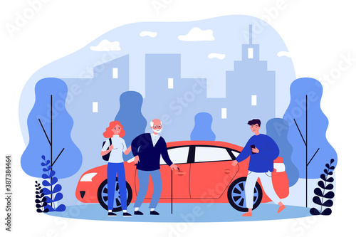 Young people helping aged person with sitting down in taxi Fototapeta