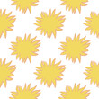 Abstract stars doodle isolated seamless creative pattern. Sunshine yellow ornament on white background.