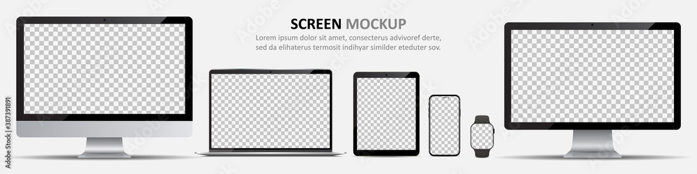 Fototapeta Screen mockup. Computer monitors, laptop, tablet, smartphone and smartwatch with blank screen for design
