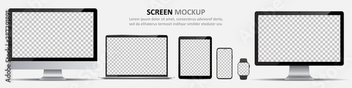 Fototapeta Screen mockup. Computer monitors, laptop, tablet, smartphone and smartwatch with blank screen for design obraz