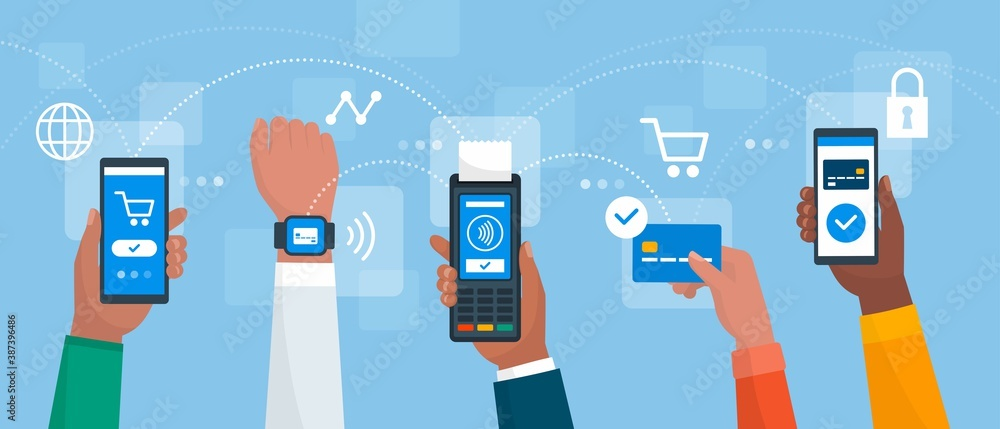 Fototapeta Electronic cashless payments and secure transactions