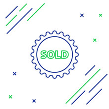 Line Sold Label Icon Isolated ...