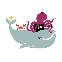 Vector Illustration With Whale, Octopus Playing Acoustic Guitar, Dancing Crab And Starfish. Music Party Flyer Template Design, Ocean Concert With Animals