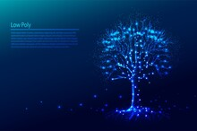 Polygonal Tree On Dark Blue Tech Background, Triangles And Particle Style Design.