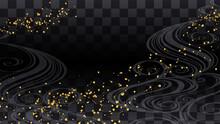 金箔をちりばめた市松模様と波の和風背景イラスト_16:9