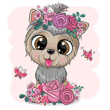 Yorkshire Terrier With Flowers On A Pink Background