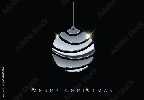 Obraz Christmas Card with Minimalistic Silver Bulb  - fototapety do salonu