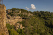 Wall view of medieval town of Calcata Vecchia, Italy