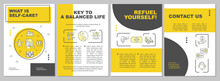 Self Care Brochure Template. Key To Balanced Life. Flyer, Booklet, Leaflet Print, Cover Design With Linear Icons. Vector Layouts For Magazines, Annual Reports, Advertising Posters