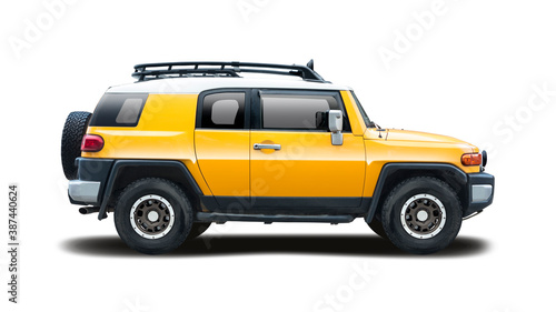 Yellow SUV car side view isolated on white background