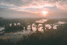 Foggy Sunrise Over The James River In Richmond, Virginia