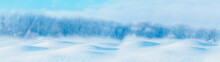 Banner Snowy Winter Snowdrifts In Front Of Forest Panoramic Background