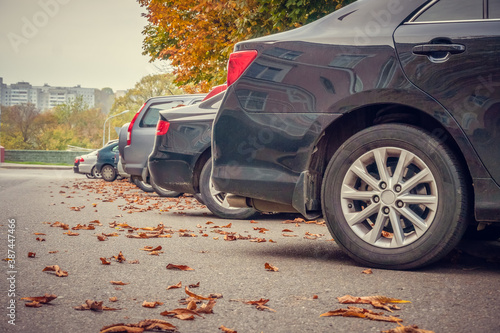 Foto Rear bumpers of cars in the Parking lot with fallen autumn leaves