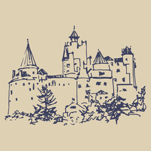 View Of A Medieval Bran Castle In Romania. (Dracula's Castle Of Vlad The Impaler). Hand Drawn Linear Ink Sketch.