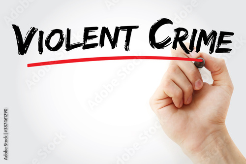 Fotografering Violent Crime text with marker, concept background