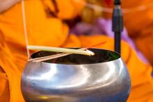 Buddha Monk Hold Candlestick A...