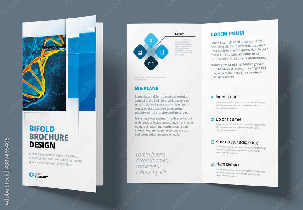 Fototapeta Blue Bifold Brochure Layout with Rectangle Elements