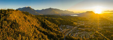 Ultra Wide Angle Aerial Panorama Photo Of The Chilliwack City That Seats In The Fraser Valley In British Columbia, Canada