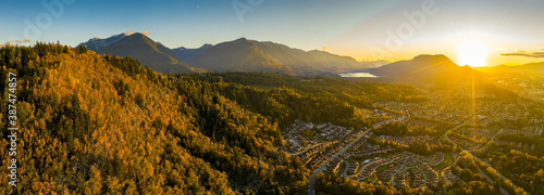 Obraz Ultra wide angle aerial panorama photo of the Chilliwack city that seats in the Fraser Valley in British Columbia, Canada - fototapety do salonu