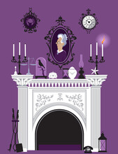 Victorian Interior With A Marble Fireplace, Portrait And Mantle Decorations, EPS 8 Vector Illustration