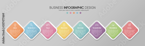 Fotografie, Obraz Colourful infographic template with 8 options. Flowchart. Vector