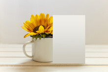 Postcard Mockup With White Cup...
