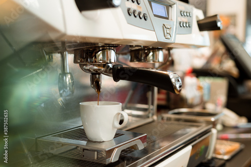 black coffee morning on coffee maker Fotobehang
