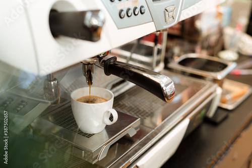 black coffee morning on coffee maker Canvas