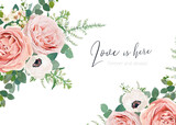 Vector wedding invite card, greeting, banner, poster floral design. Blush peach roses, white anemone, wax flower, lilac branch, Eucalyptus greenery leaves & green fern stylish watercolor bouquet frame