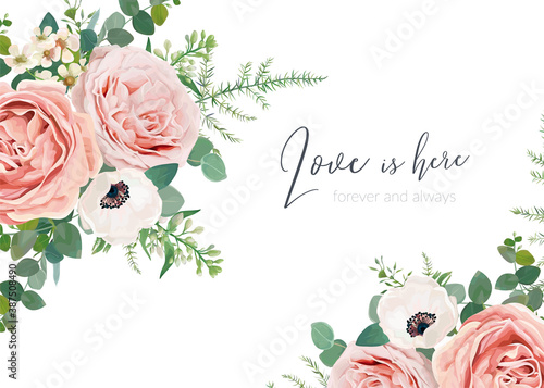 Foto Vector wedding invite card, greeting, banner, poster floral design