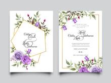 Beautiful Purple Roses Design Wedding Invitation Card Template