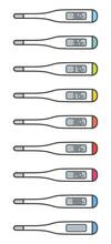 数値入りデジタル体温計セット(摂氏)/線あり