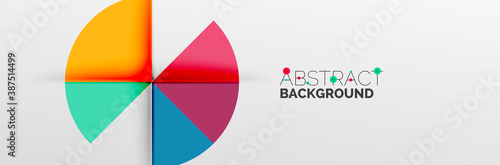 Bright color circles, abstract round shapes and triangles composition with shadow effects Canvas