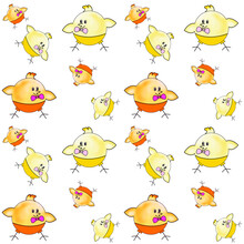 Creative Composition Consisting Of Cartoon Animals. Children's Toy. Resource For Printing On Paper Or Fabric, Seamless Background.