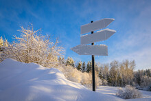 Blank Signpost With Three Whit...