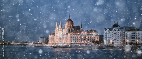 Fotografie, Obraz night view architecture budapest hungary tourist trip nightlife europe landscape