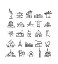 Travel And Tourism Locations. Continent, Country, City, Symbol Asia, Africa, Australia, Europe, America