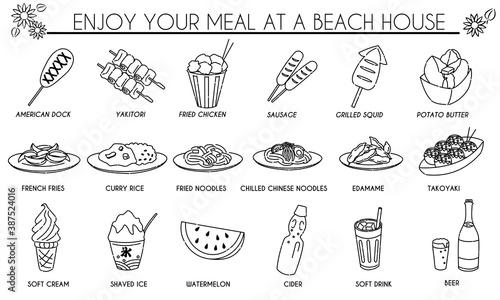 海の家 食べ物 アイコンセット Fototapete
