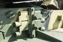 Spare Track Of A Tank Or Bulldozer On The Armor For Replacement