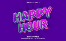 Editable Text Effect, Happy Hour Text Style